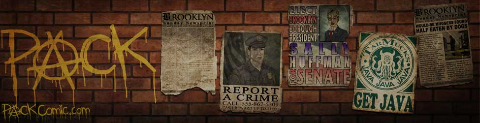 Pack-graffiti-wheat-pasting-brick-wall-art-cop-shot-reward-election-coffee-advertisement-newsprint