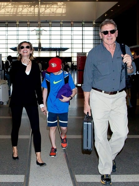 Harrison Ford, Calista Flockhart and their son Liam Ford Spotted at LAX