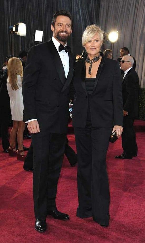 Hugh Jackman, Deborra Lee Furness, Jennifer Lawrence, Daniel Day-Lewis, Rebecca Miller, Anne Hathaway on the Red Carpet at the Oscars 2013