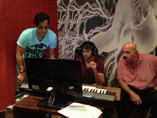 Hrithik Roshan and Rakesh Roshan in the Studio with Salim for Krrish 3
