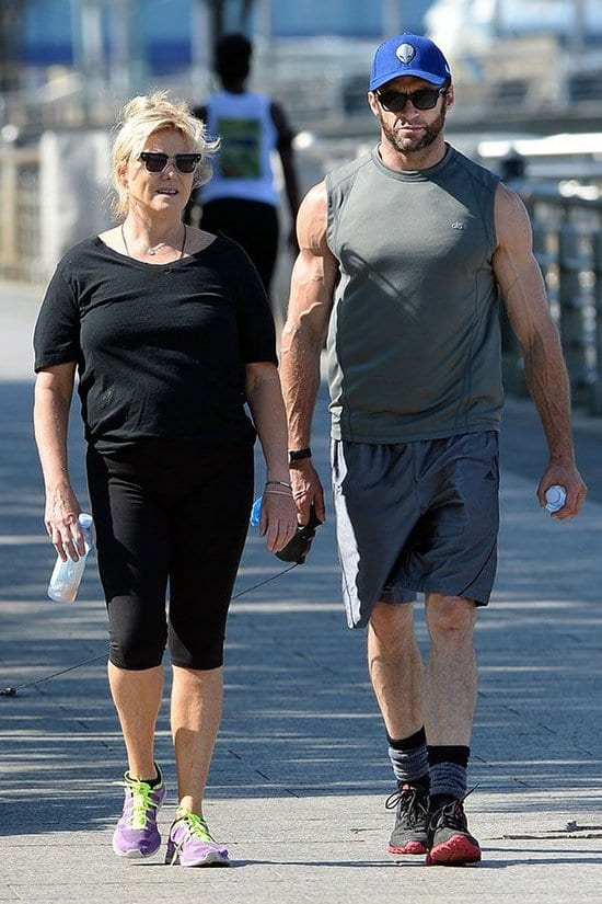 Hugh Jackman Spotted Jogging with his Wife