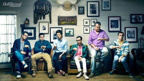 Matthew Perry, Jake Johnson, Adam Scott, Fred Armisen, Jim Parsons and Eric Stonestreet in The Hollywood Reporter Magazine