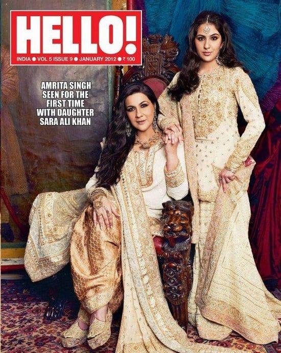 Sara Ali Khan and Amrita Singh on Hello Magazine