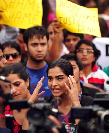 Sonam Kapoor at the Anti-Rape Protest in Mumbai