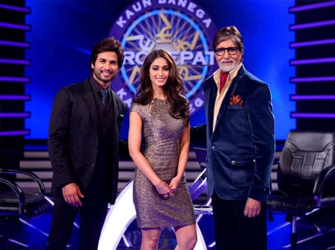 Shahid Kapoor, Ileana D'Cruz and Amitabh Bachchan on Kaun Banega Karorepati