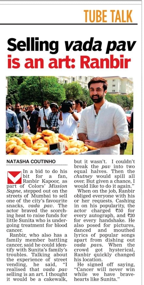 Ranbir Kapoor Sold Vada Pav on the Streets for Charity