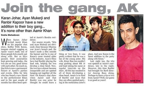 Karan Johar, Ayan Mukherji, Ranbir Kapooor and Aamir Khan are the New Best Friends in Bollywood