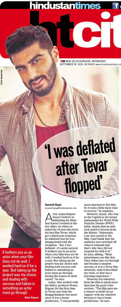 Arjun Kapoor says he was sad after Tevar Flopped