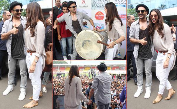 Ranveer Singh and Deepika Padukone at Bhalewadi Stadium in Pune