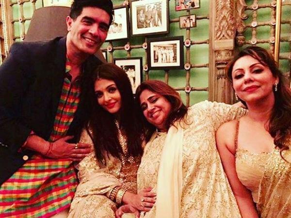 Aishwarya Rai, Shah Rukh Khan and Gauri Khan at Bachchans Diwali Party