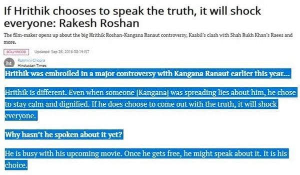 Kangana Ranaut openly speaking about the Hrithik-Kangana drama