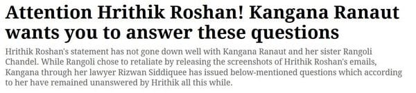 Kangana Ranaut has some questions for Hrithik Roshan