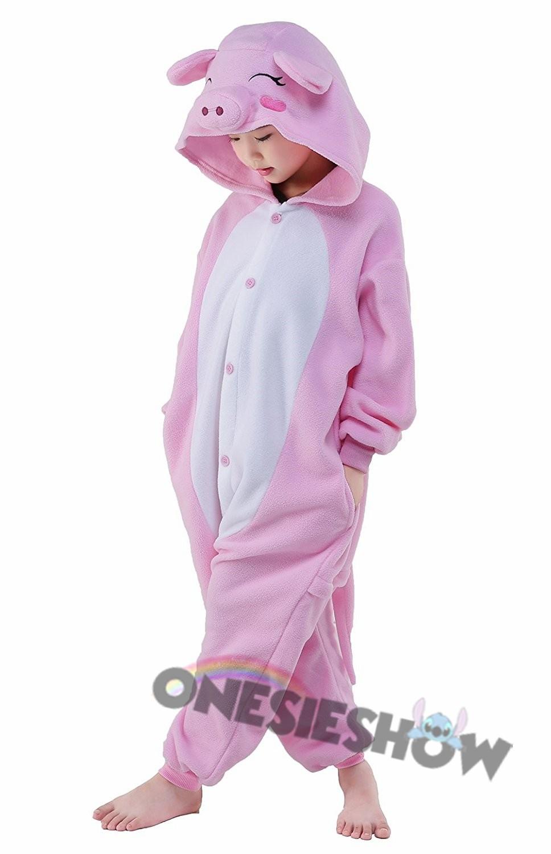 Pink Pig Onesie Kids Kigurumi Polar Fleece Animal Costumes