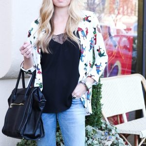 silk printed blazer and light jeans