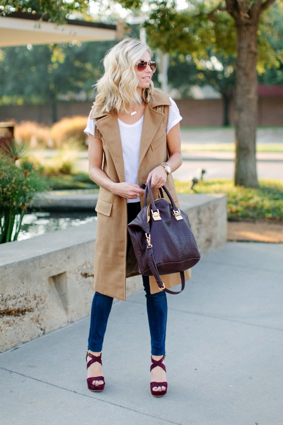 sleeveless one button coat-casual fall outfit-fashion blogger dallas