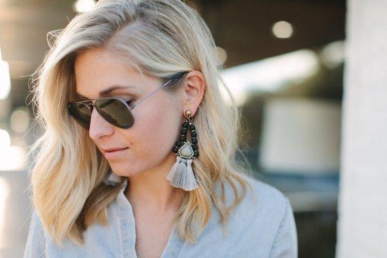 black beaded tassel earrings-black aviator sunglasses