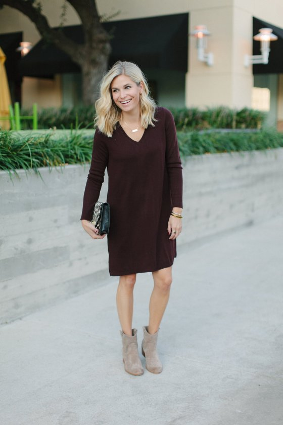 burgundy sweater dress with tan booties-dallas fashion bloggers