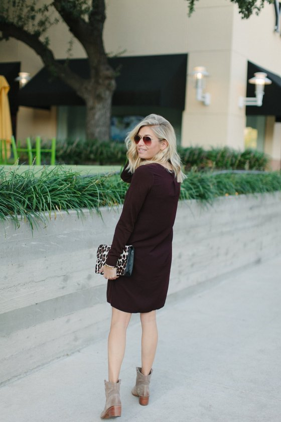 burgundy sweater dress for fall-tan suede booties-dallas fashion blogger