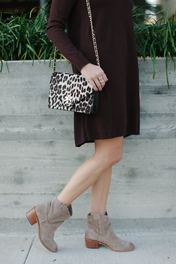 tan suede booties and leopard purse