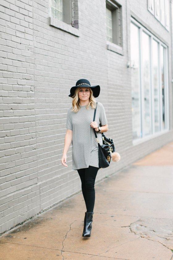 brandy melville jenelle dress-black ankle booties-black floppy hat