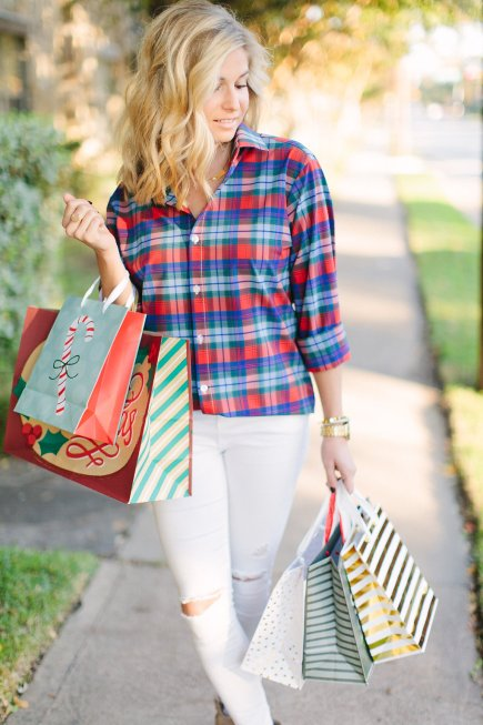 mizzen and main eastman multi plaid shirt-red plaid shirt-holiday gift guide for him-holiday gifts for guys-dallas fashion blogger