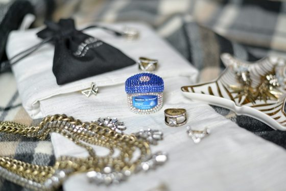 vaseline bejeweled lip jar-vintage gold rings-baublebar rings-stocking stuffer gifts