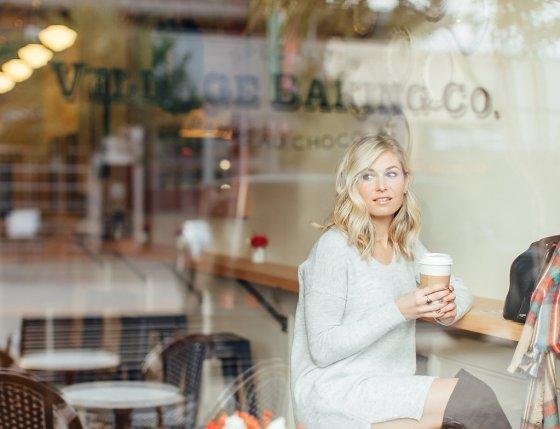 morning coffee run in grey sweater dress