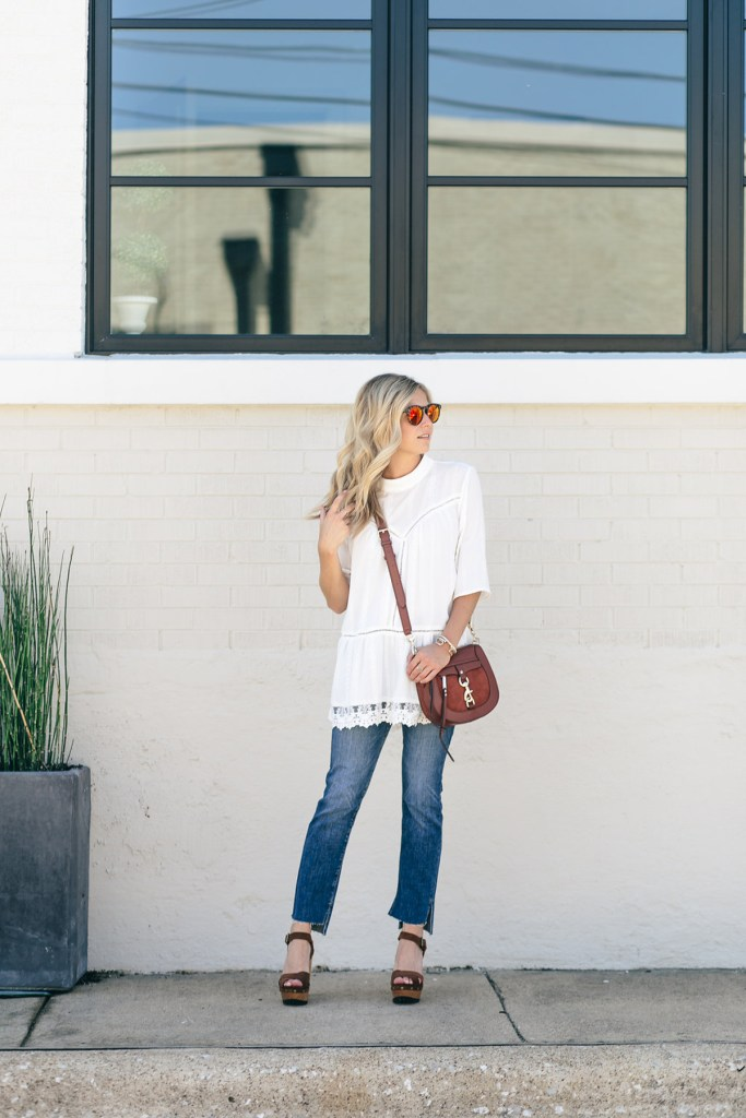 8e4a2c60788 WEAR LATER: WHITE LACE TUNIC. July 17, 2016. lace peasant top - nordstrom  sale - frame denim jeans - rebecca minkoff saddle bag -