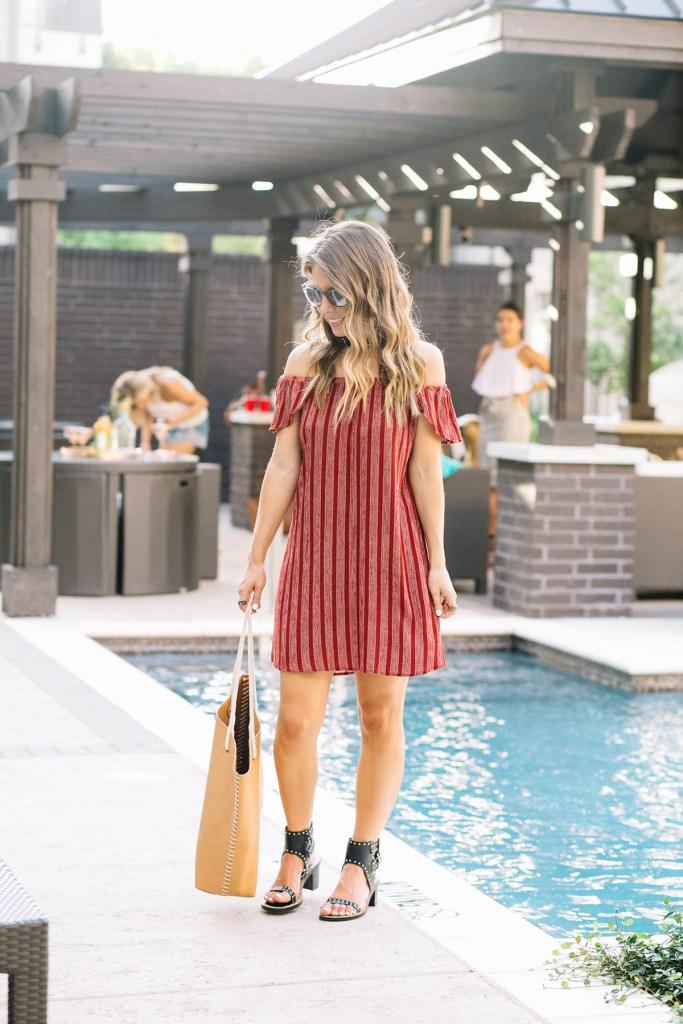 black wedges - pool bag - red off the shoulder dress - black sunglasses