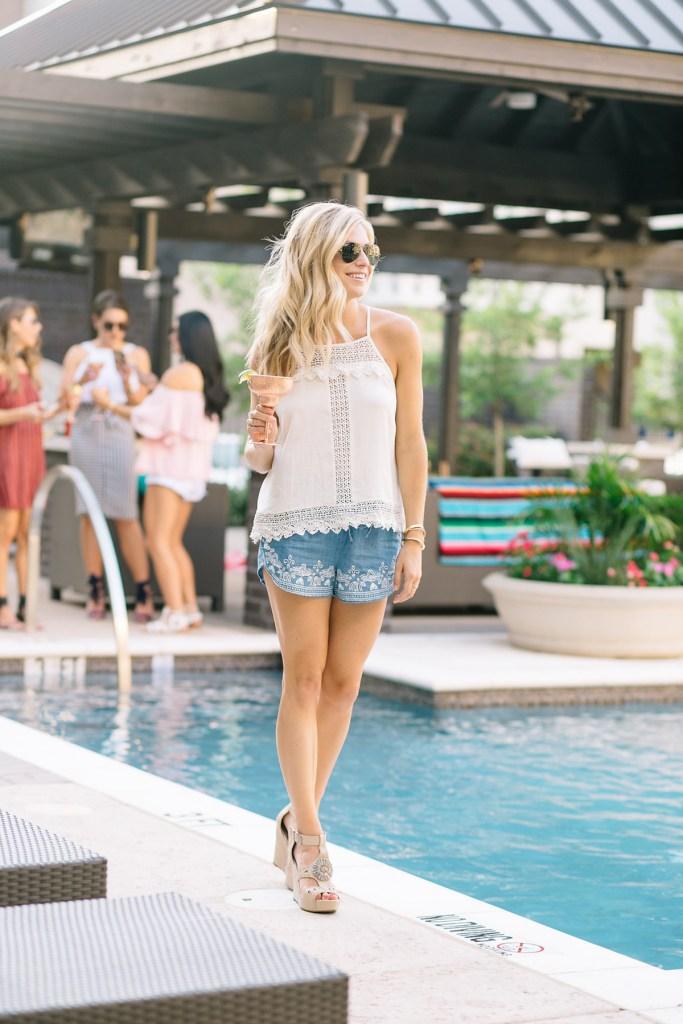 62431f6d03a0 white top - white shirt - blue shorts - blue print shorts