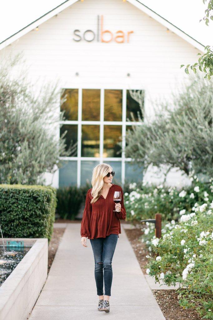rust pleated blouse - solbar napa california - dallas fashion blog - fall outfit inspiration