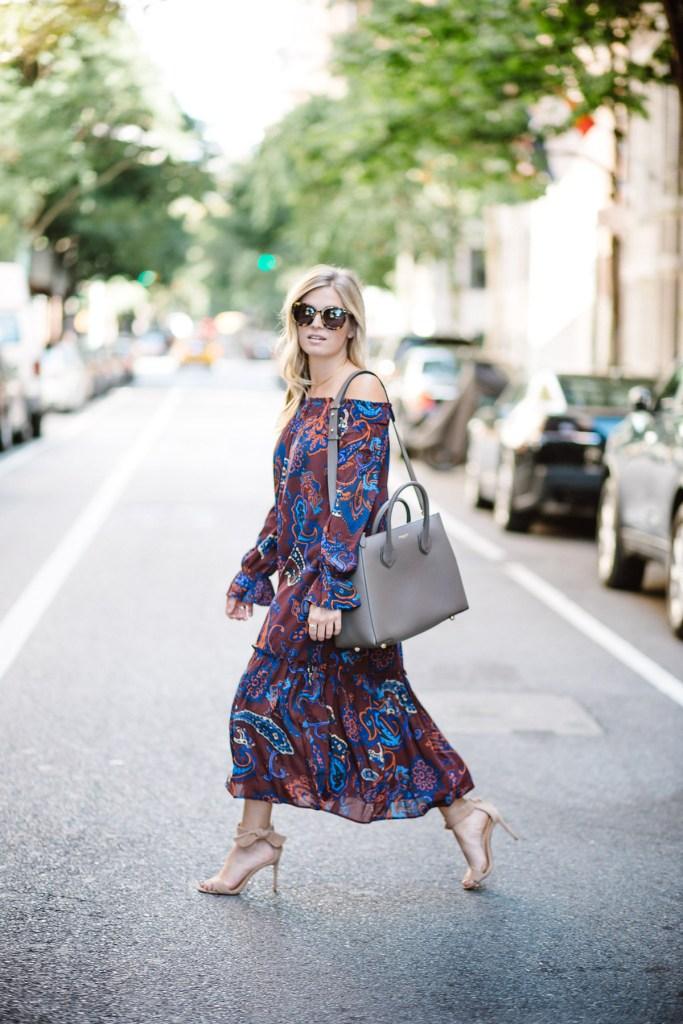 burgundy off the shoulder midi dress