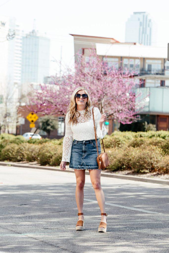 topshop nordstrom, topshop lace blouse, topshop denim skirt, dallas style blog