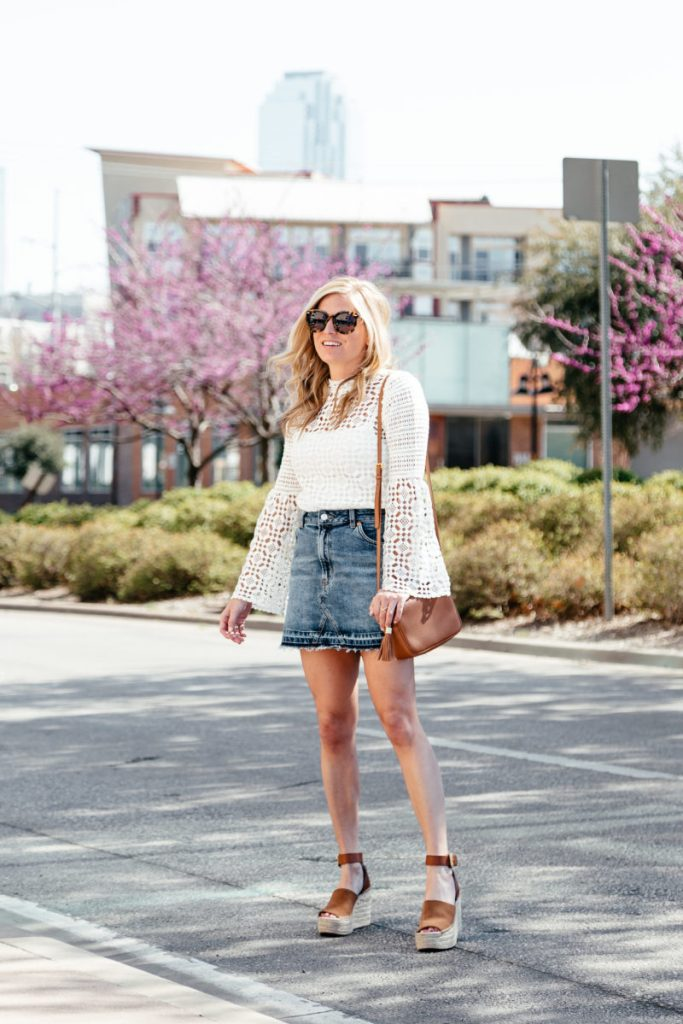 denim skirt spring trend, bell sleeve lace blouse, marc fisher wedges, style blog dallas
