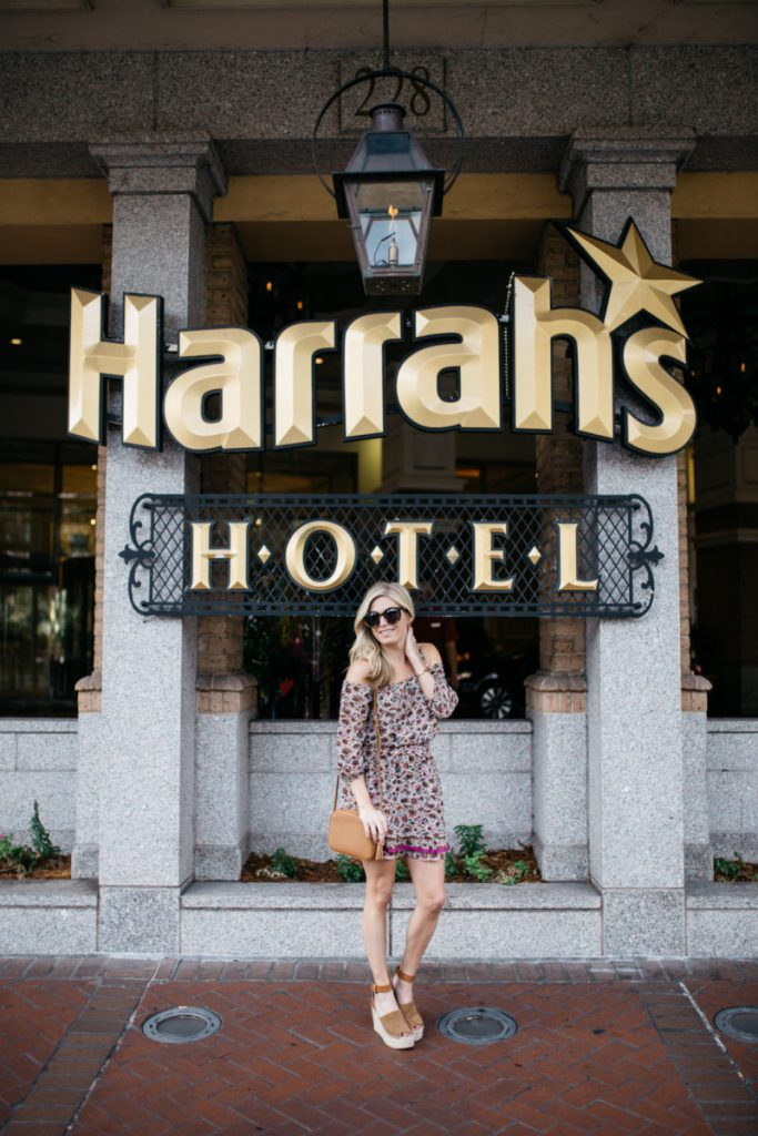 48 hours in new orleans, harrahs hotel, floral dress