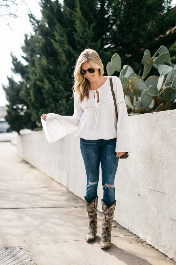be2c11440d three ways to wear cowboy boots, white flare sleeve blouse, cowboy boots,  brooke
