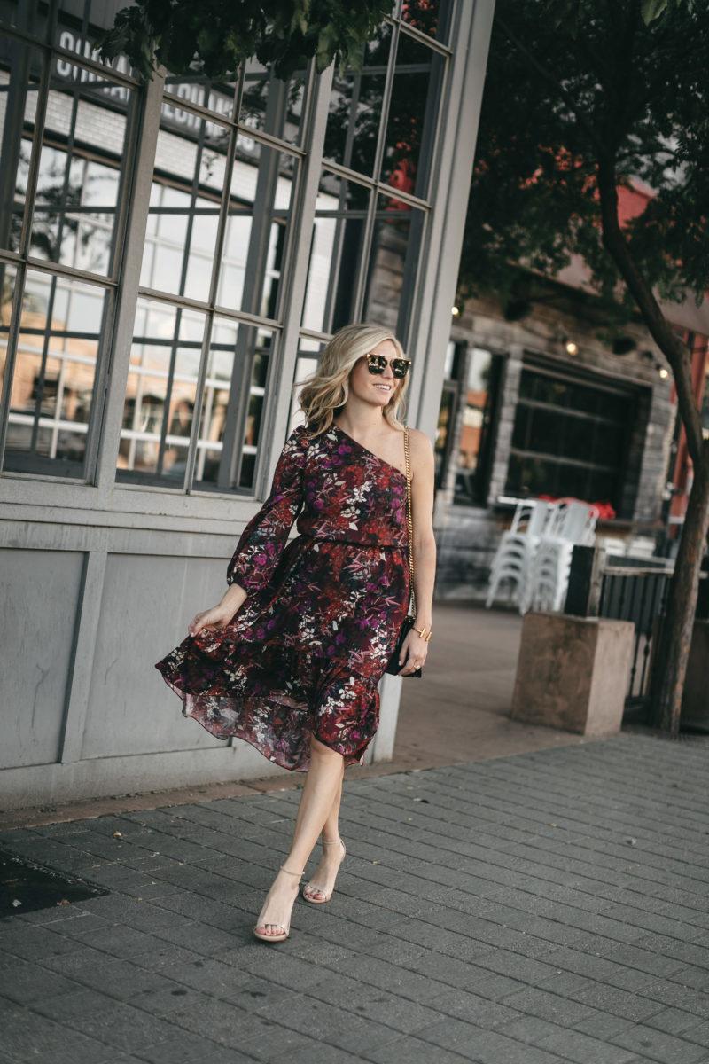 floral one shoulder dress, brooke burnett