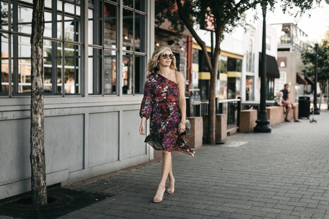 burgundy floral midi dress