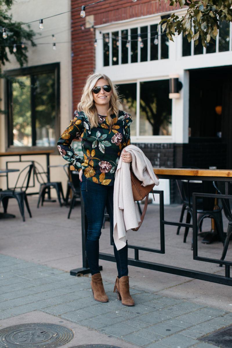 fall fashion, dallas texas, denim, booties