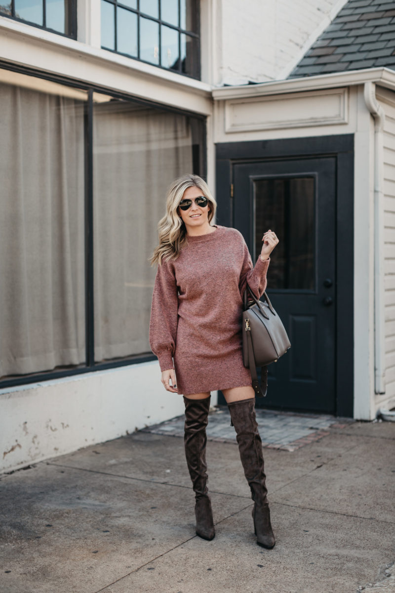 one small blonde, fashion blogger, OTK suede boots