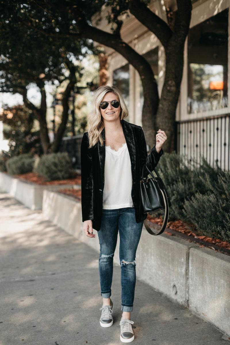 style blogger, velvet blazer, aviators