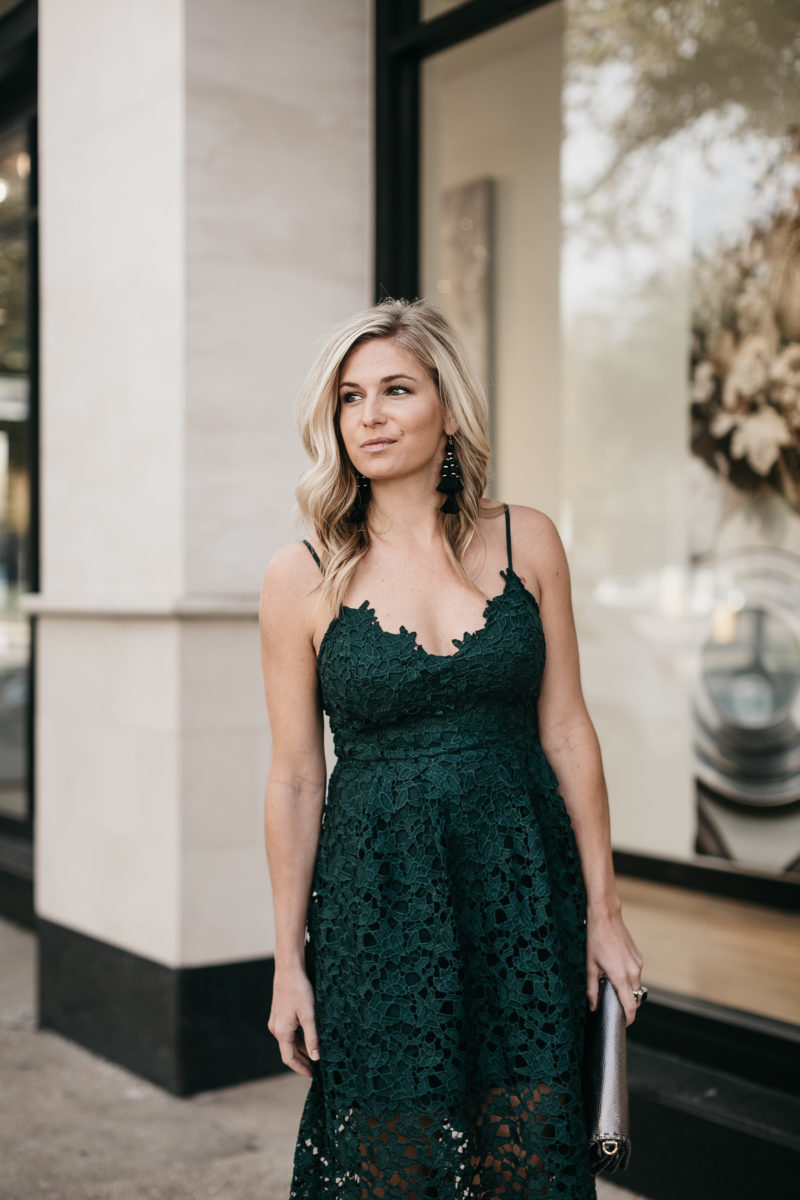 holiday dress, hunter green, lace midi