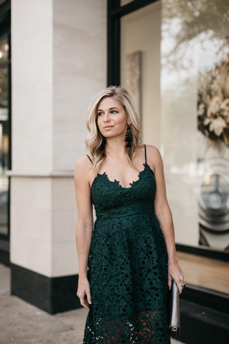 holiday dress, hunter green, lace midi