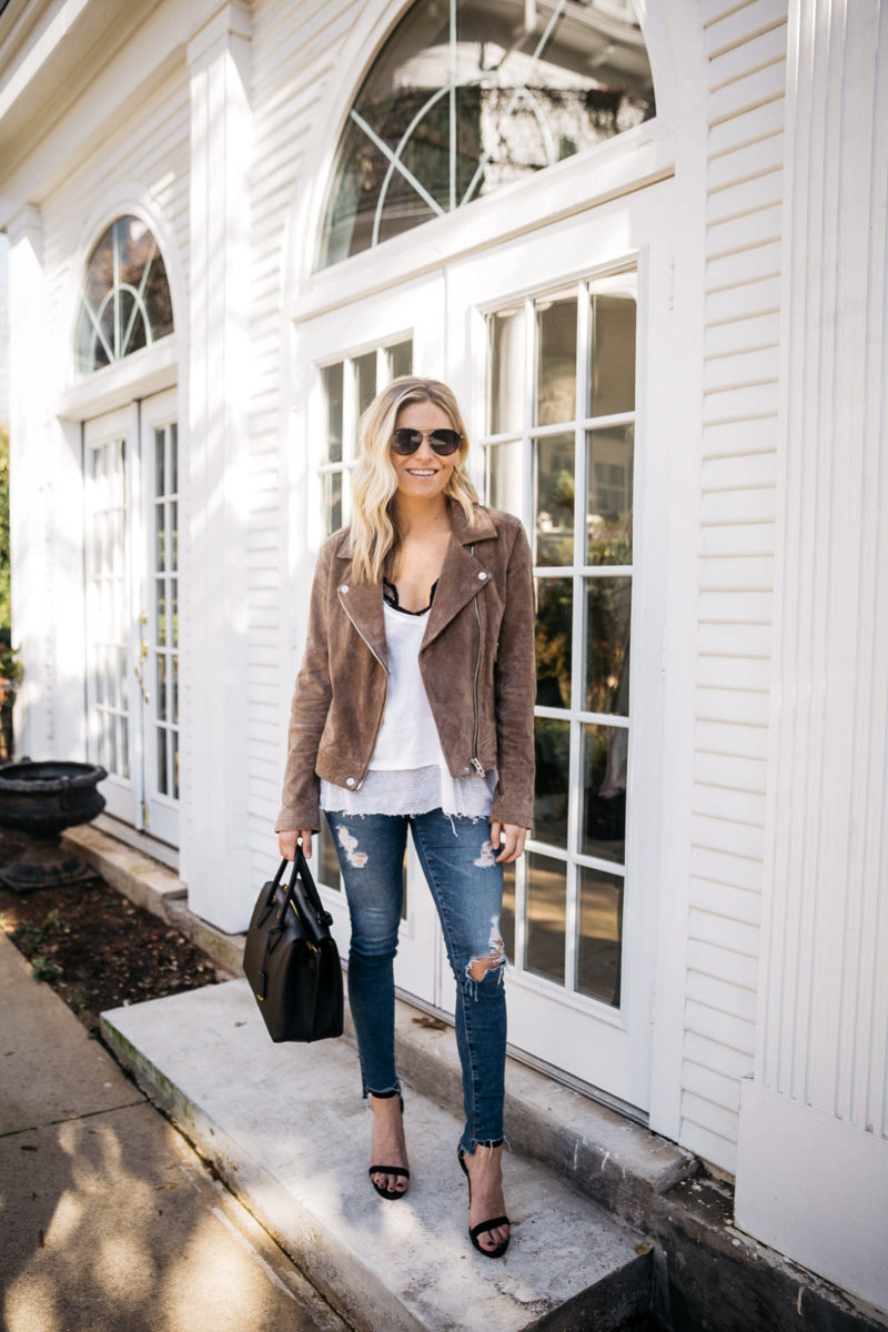 suede moto jacket blanknyc, suede moto jacket women's nordstrom, dallas style blogger