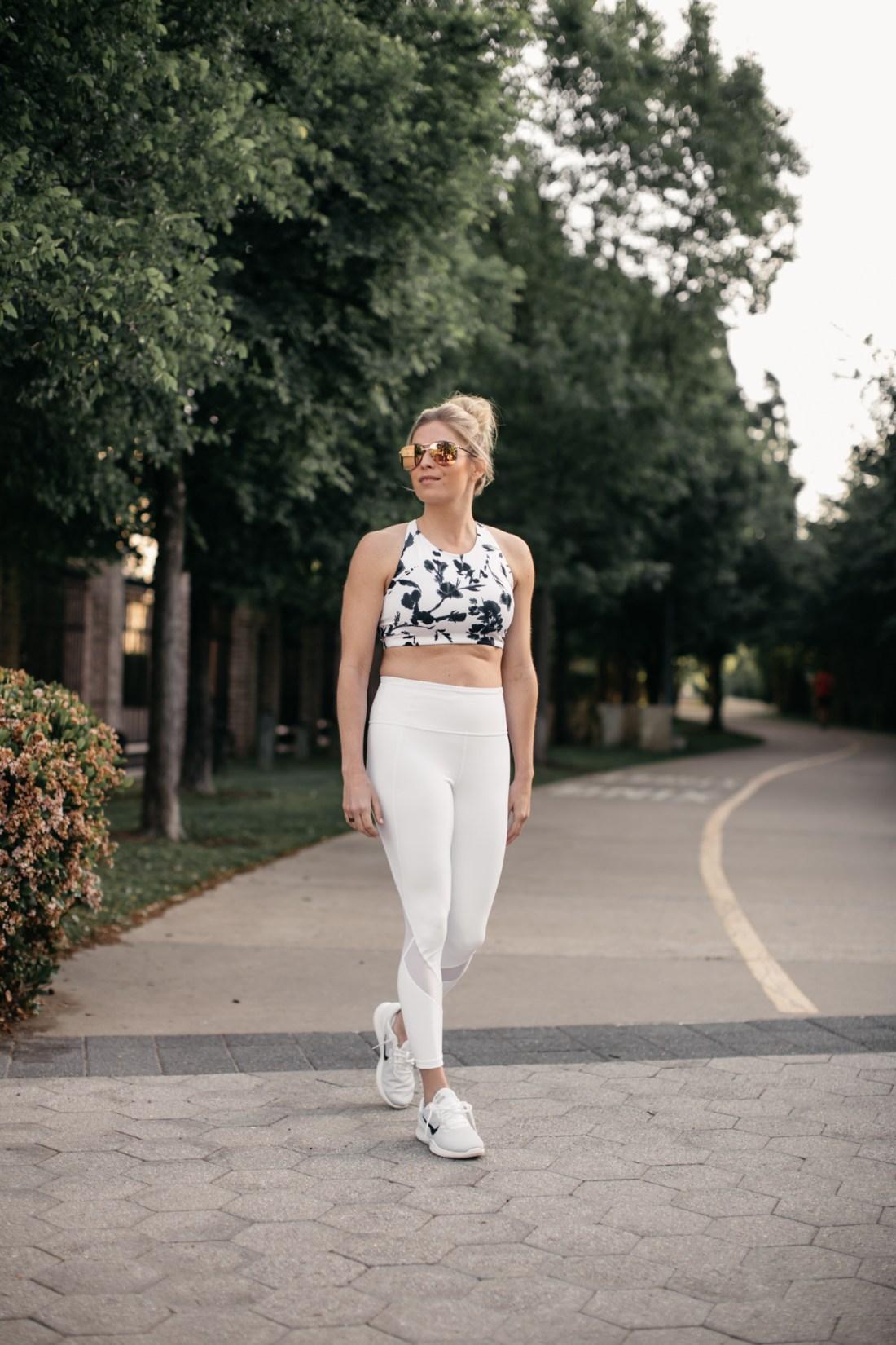 Dallas lifestyle blogger walking on Katy Trail