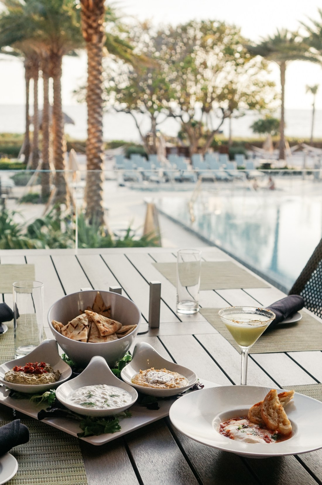 poolside meal on vacation