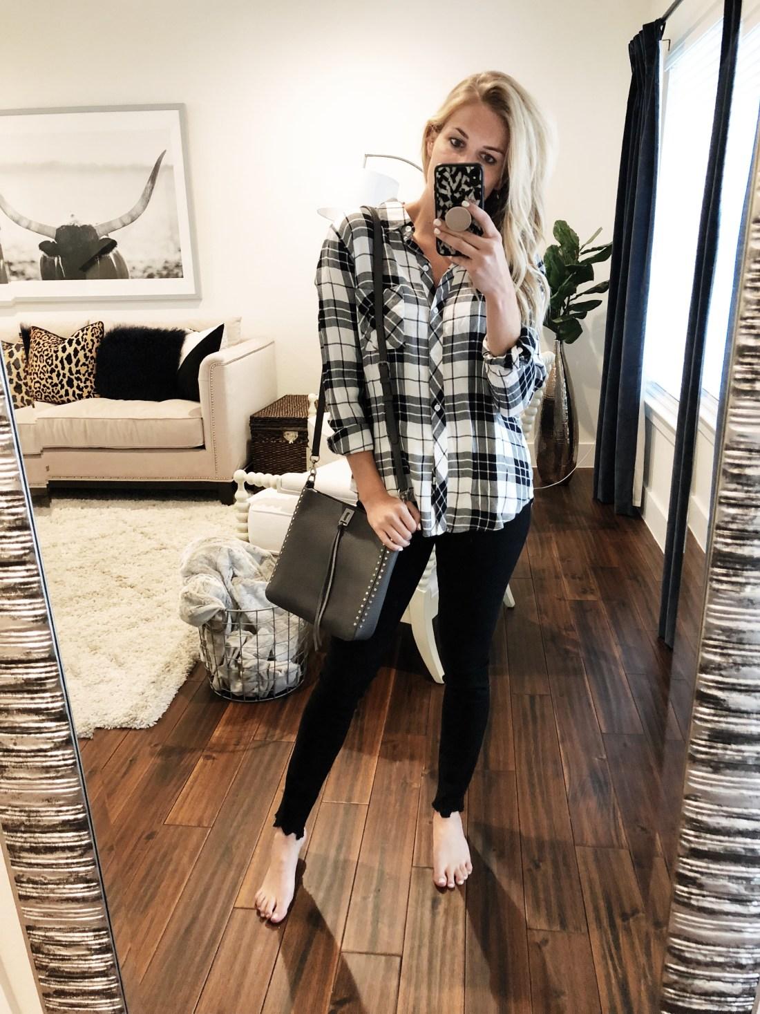 Rails Plaid Top / Rebecca Minkoff Small Crossbody  Frame Black Jeans // Size 25
