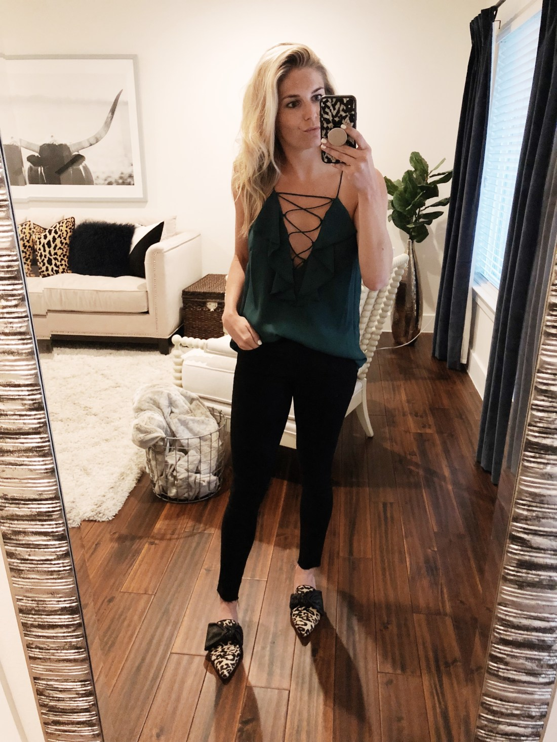 WAYF Green Lace-Up Ruffle Cami // Size M (go a size up)  Rag & Bone Black Jeans // Size 25  Louiso Et Cie Leopard Flats  // Size 7 1/2