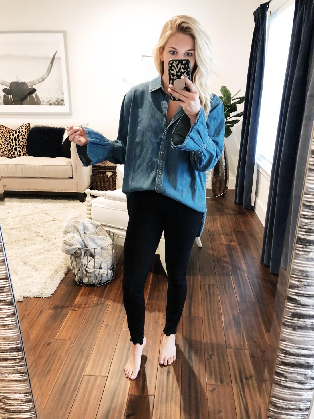 Treasure and Bond Pleated Cuff Top // Size S (runs big, order down)  Rebecca Minkoff Small Crossbody  Frame Black Jeans // Size 25