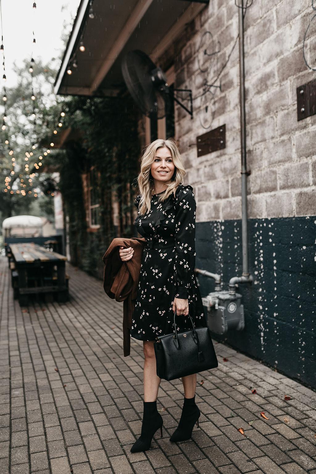 Ann Taylor - Floral Ruffle Flare Dress